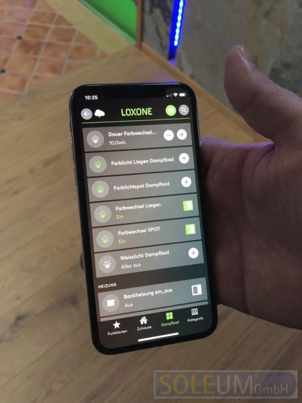 Steuerung des Dampfbades via Handy LOXONE